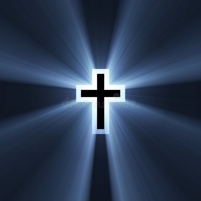Double cross symbol blue light flare. Spiritual double cross (cross in a cross) with powerful blue light halo. Extended flares for cropping vector illustration