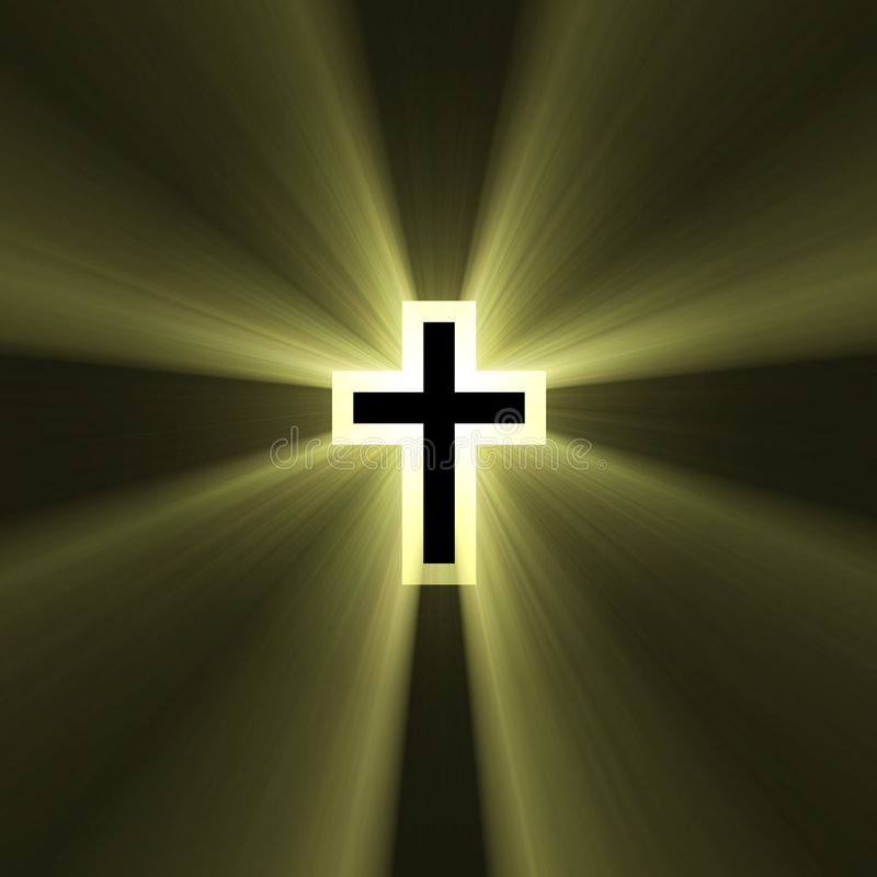 Double cross symbol light flare. Spiritual double cross sign (cross in a cross) with powerful sun light halo. Extended flares for the background cropping royalty free illustration