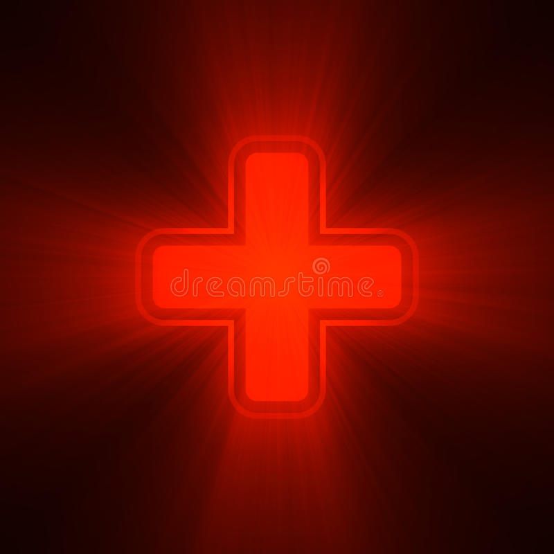 Double crosses red light flare. Cross red light shining. Medical neon sign, first aid, health point, life power station, emergency alert or survival pack symbol stock illustration