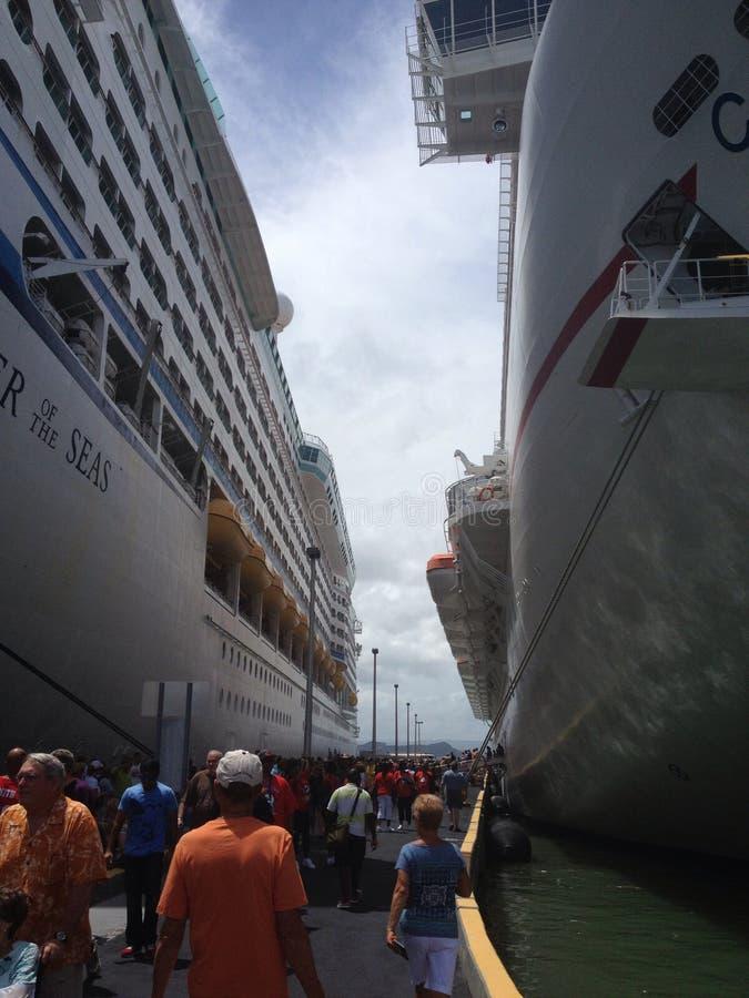 Double Cruise Ships stock photos