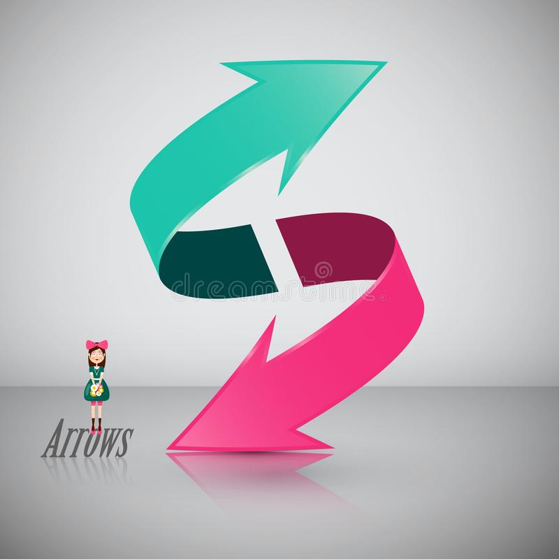 Double 3D Arrow Symbol with Girl stock illustration