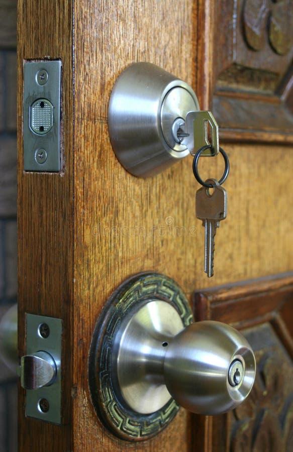 Double Deadlocked Door Security stock image