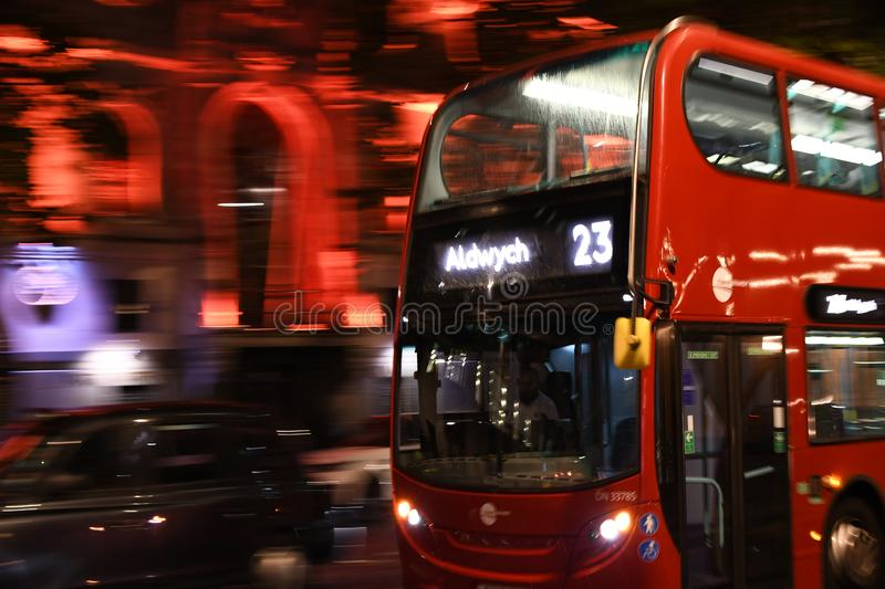 Bus on the London street stock images