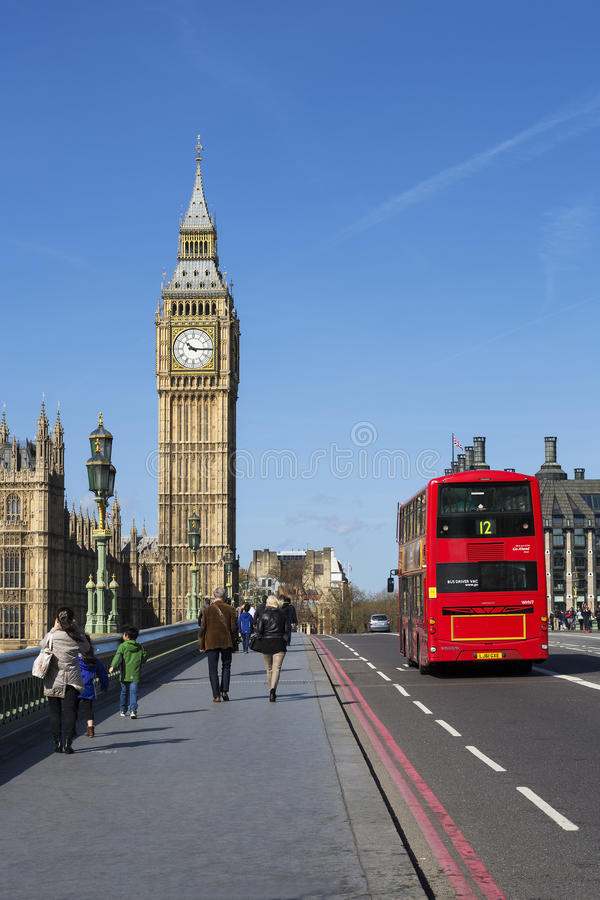 Double-decker bus, London stock image