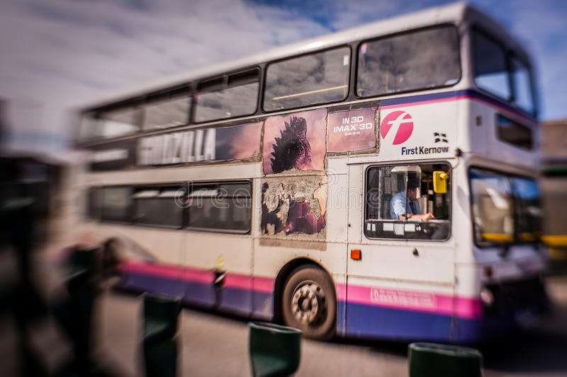 Double decker bus. Routmaster – traditional double decker bus used commonly in England, this particular one in Newquay, Cornwall stock photography