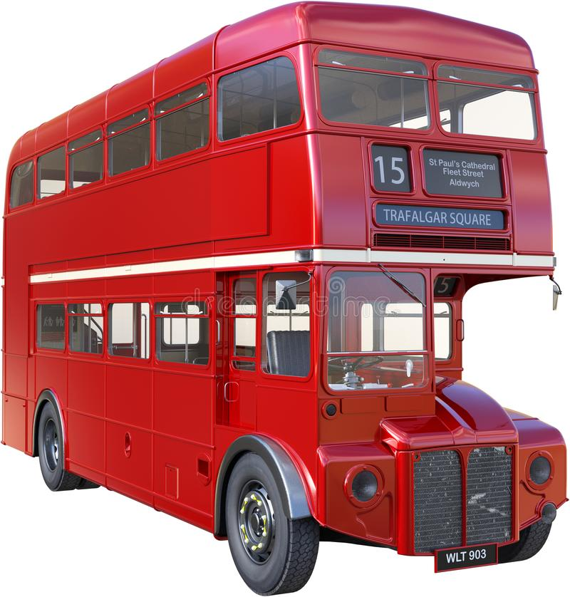 Double Decker London Bus Isolated, Red. Illustration of a vintage retro double decker British London bus. The public transportation vehicle is isolated on white royalty free stock photography