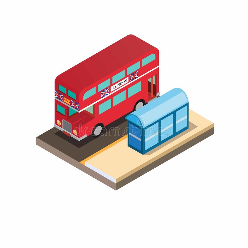 Double decker red bus with halte, iconic bus from london england in isometric illustration vector. Double decker red bus with halte, iconic bus from london royalty free illustration