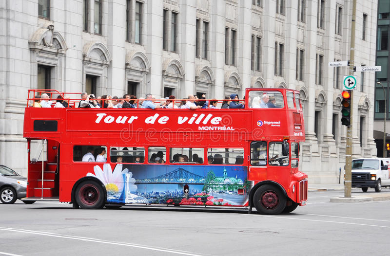 Double-decker Tour Bus In Montreal Editorial Photo