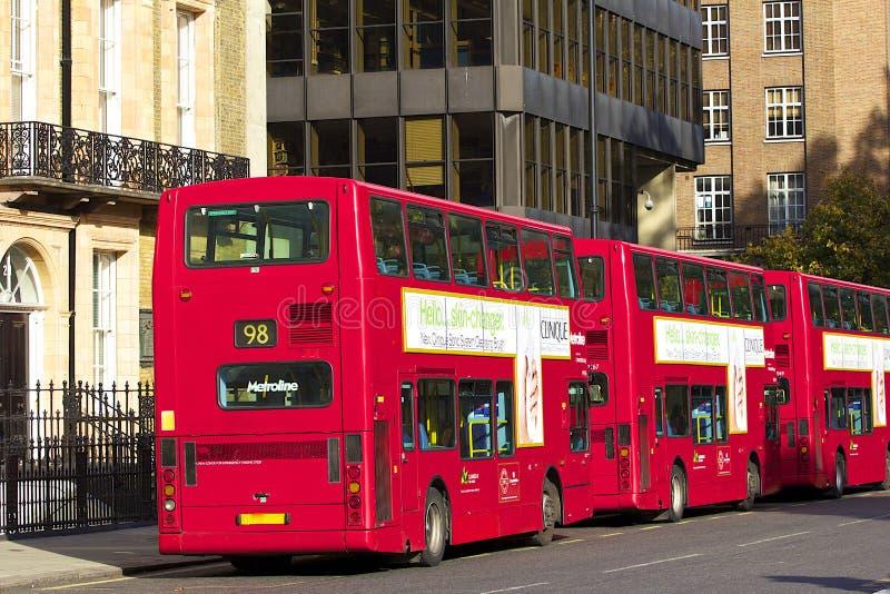Double-deckers in London, UK stock image