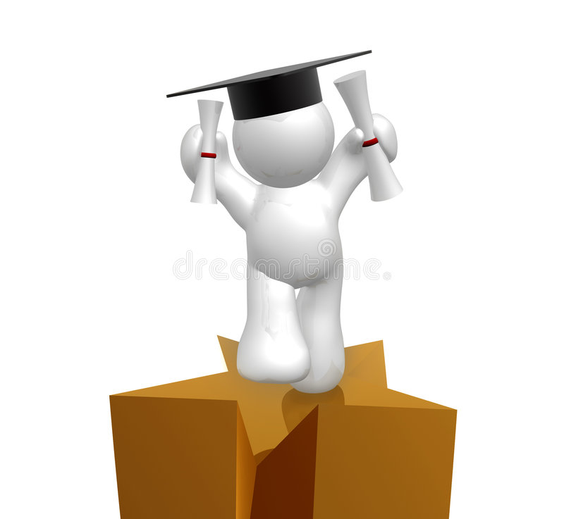 Double degree graduation icon figure stock photos