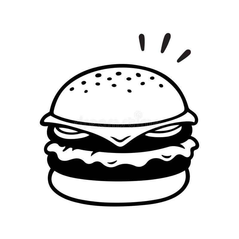 Double dessin de cheeseburger illustration libre de droits