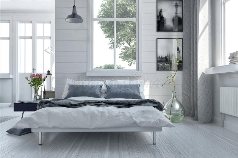 Double divan bed in a light spacious bedroom royalty free illustration