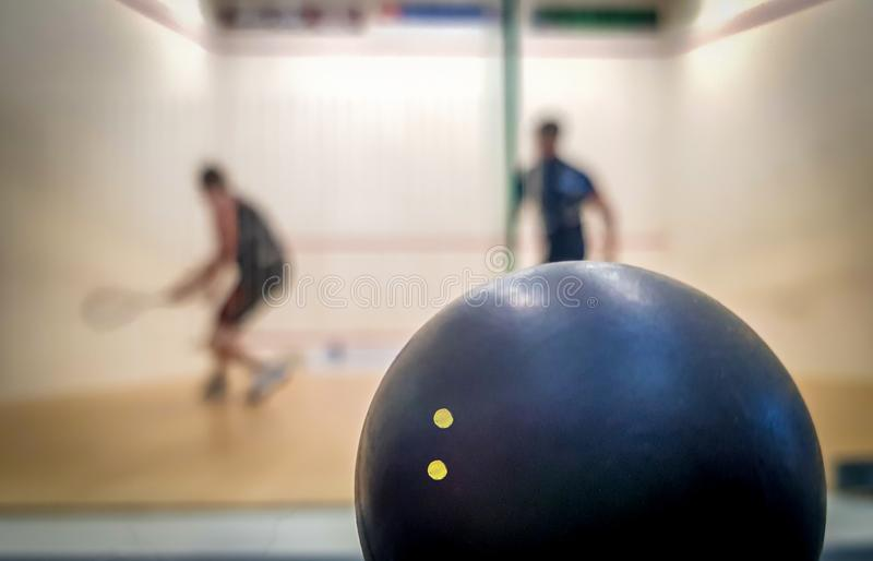 Double dot squash ball and two players in the background royalty free stock image