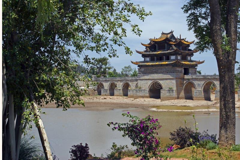Double Dragon Bridge, Chenguan, Yunnan - Chine image stock