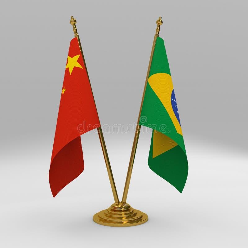 Double ensemble de drapeau de table d'amitié de la Chine et du Brésil illustration libre de droits