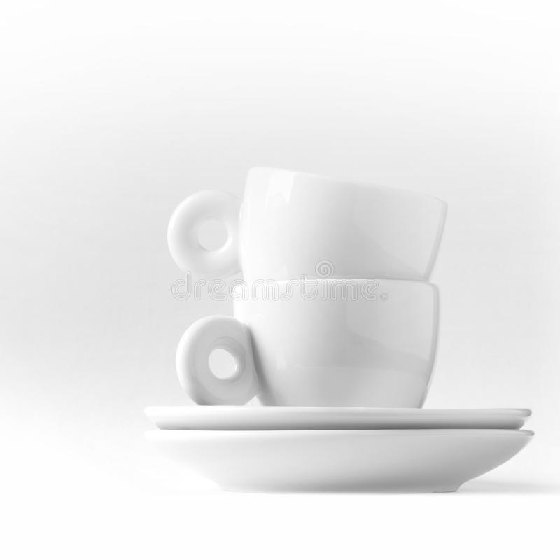 Download Double Espresso Metaphor With Two White Cups Stock Photo - Image of espresso, bean: 28443496
