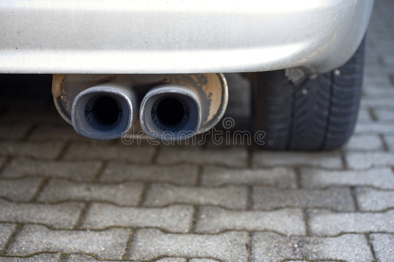 Double exhaust pipe royalty free stock photography