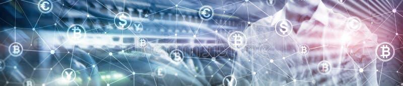 Double exposition Bitcoin et concept de blockchain Économie de Digital et commerce de devise Bannière début de site Web photo libre de droits