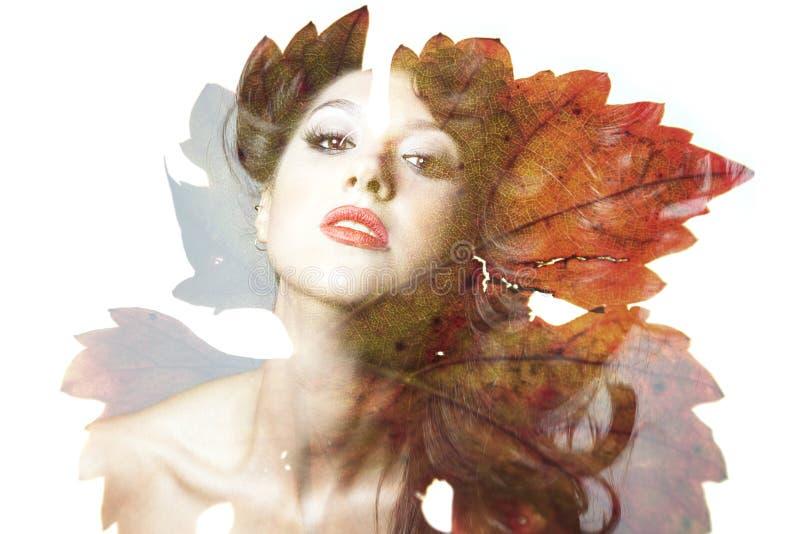 Double exposition de belle femme caucasienne image stock