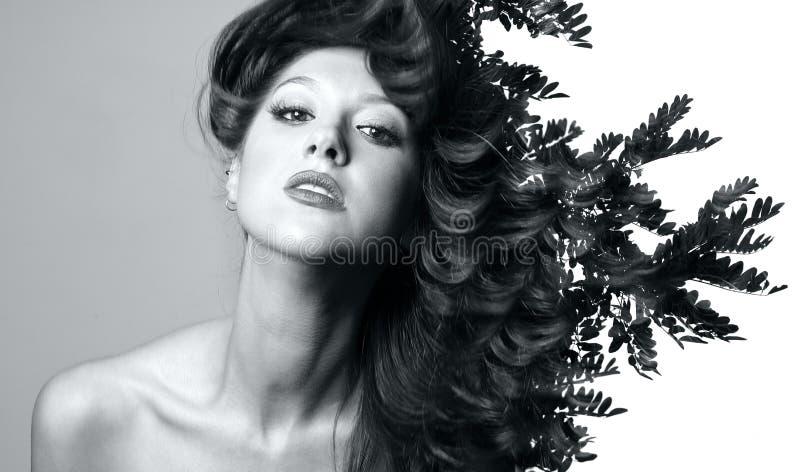 Double exposition de belle femme caucasienne images libres de droits