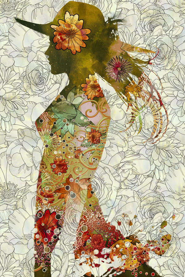 Double exposition de femme avec le chapeau et les fleurs colorées illustration libre de droits