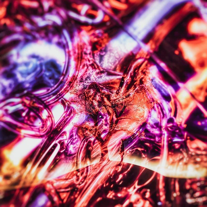 Double exposition de personne avec un arbre parmi un mélange des tubes colorés illustration de vecteur