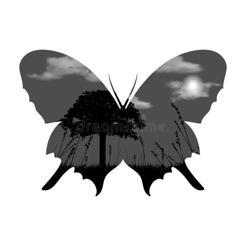 Double exposition de vecteur Papillon avec l'arbre, herbe, nuages et soleil illustration stock