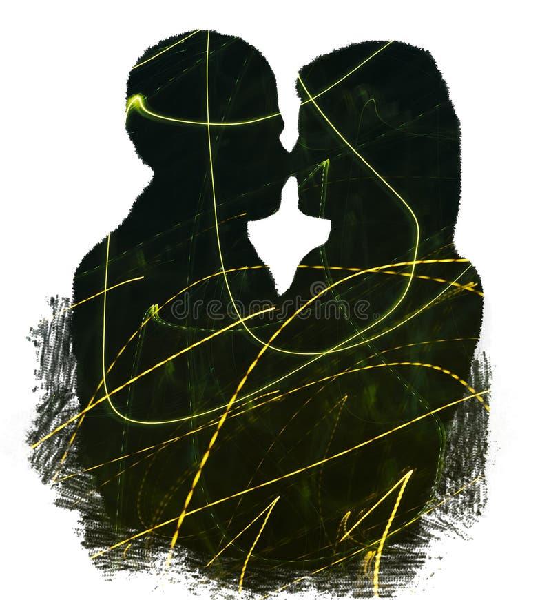 Double exposition des couples et du Freezelight images stock