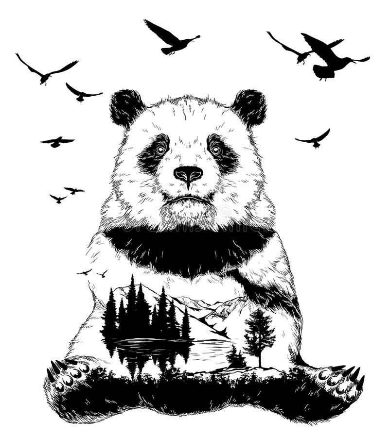 Double exposition, ours panda et paysage de forêt illustration de vecteur