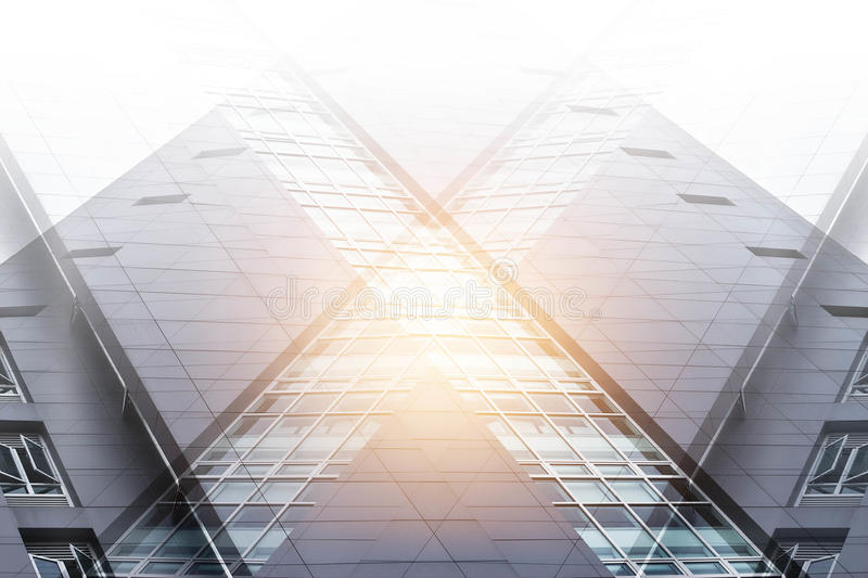 Double exposure, abstract modern office building stock image