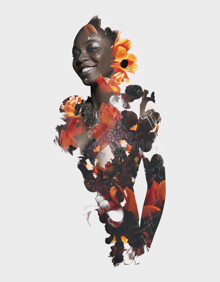 double exposure African and flowers stock photography