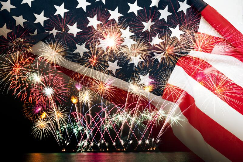 Double exposure of American USA flag with firework for Memorial Day on 4th of July , Independent day background stock photography