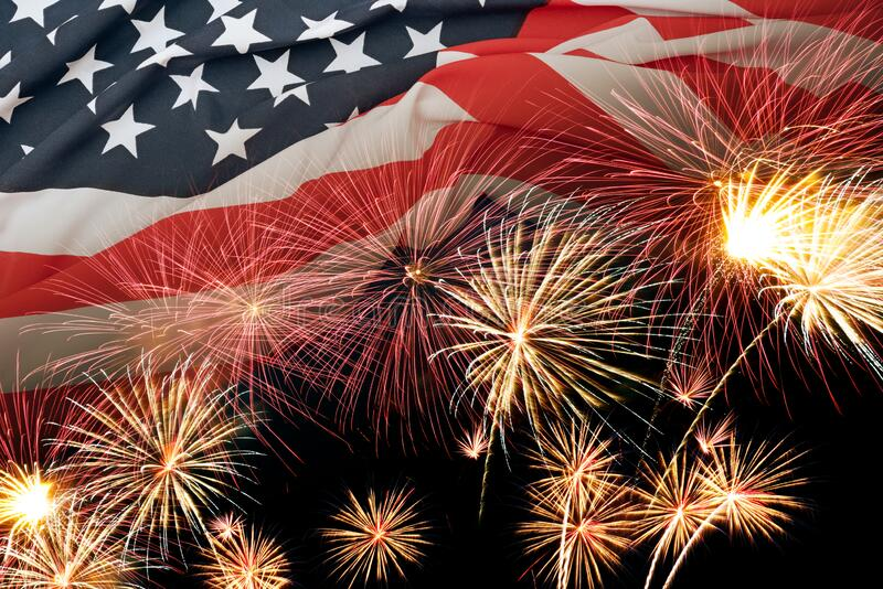 Double exposure of American USA flag with firework for Memorial Day on 4th of July , Independent day background royalty free stock photography