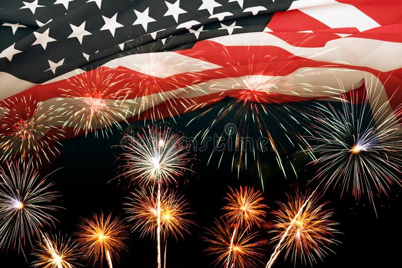 Double exposure of American USA flag with firework for Memorial Day on 4th of July , Independent day background royalty free stock photo