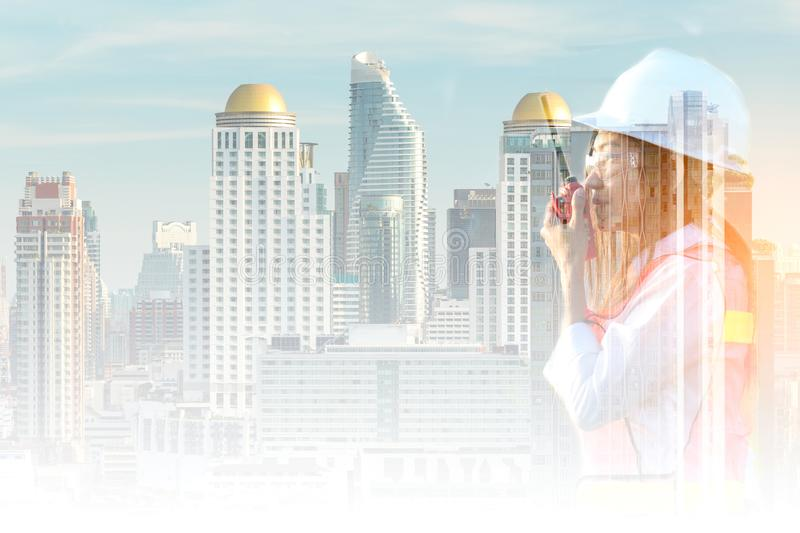 Double exposure Asian women work experience and professional occupational engineer electrician royalty free stock images