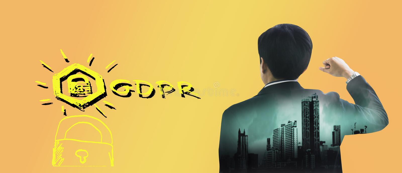 Double exposure-back rear view young businessman standing hand raised,icon GDPR,Gradient color background,concept retention stock photography