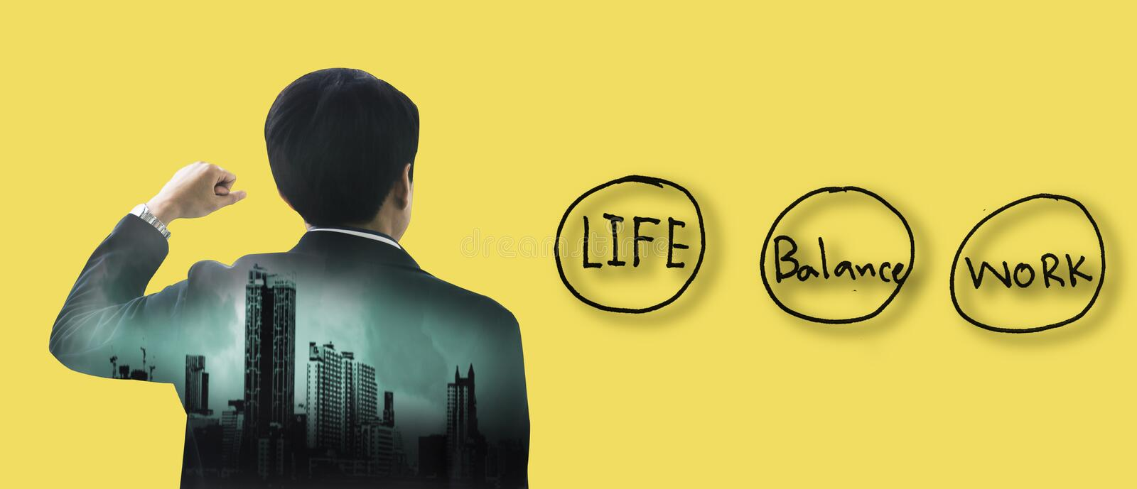 Double exposure back rear view of young businessman who is raising his hand, With drawings icon, concept leadership and stock images