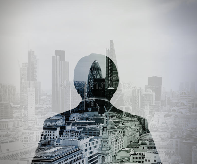 Double exposure of back view of success businessman stock photography