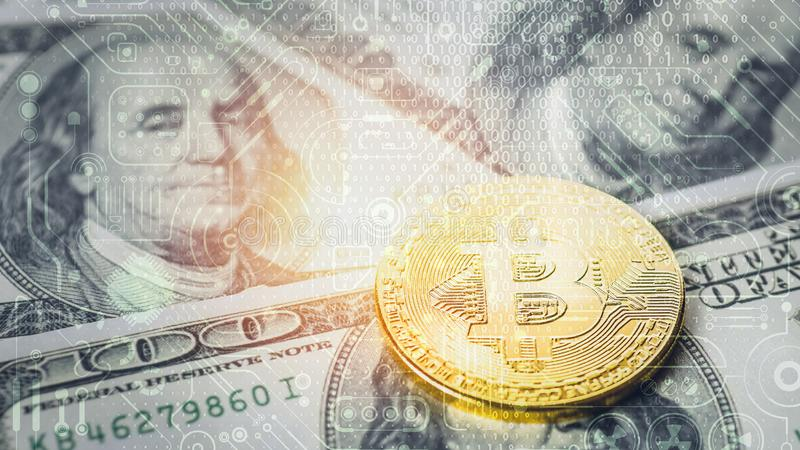Double exposure background of bitcoin golden coin on us banknote background overlay with digital circuit symbol and digital code royalty free stock photos