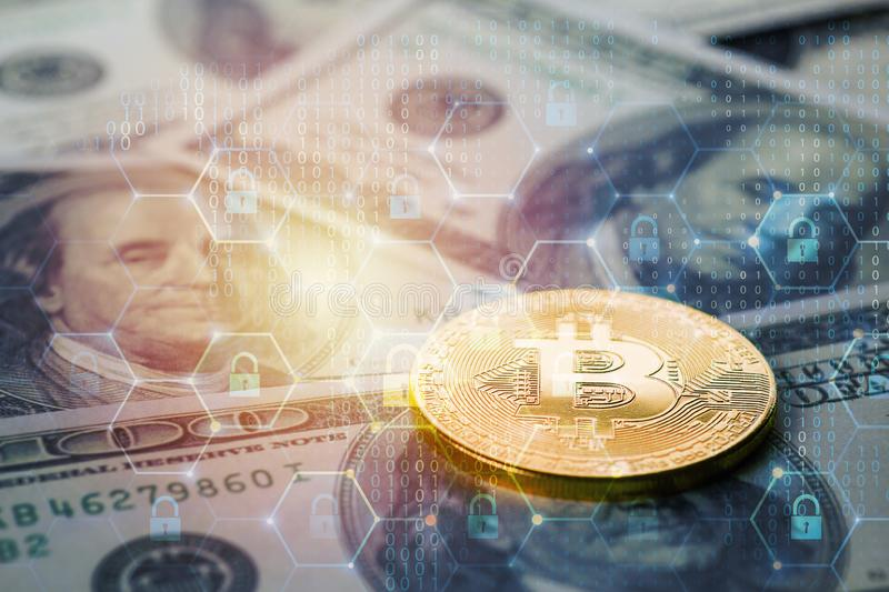 Double exposure background of bitcoin golden coin on us banknote background overlay with encryption symbol and digital code stock photos