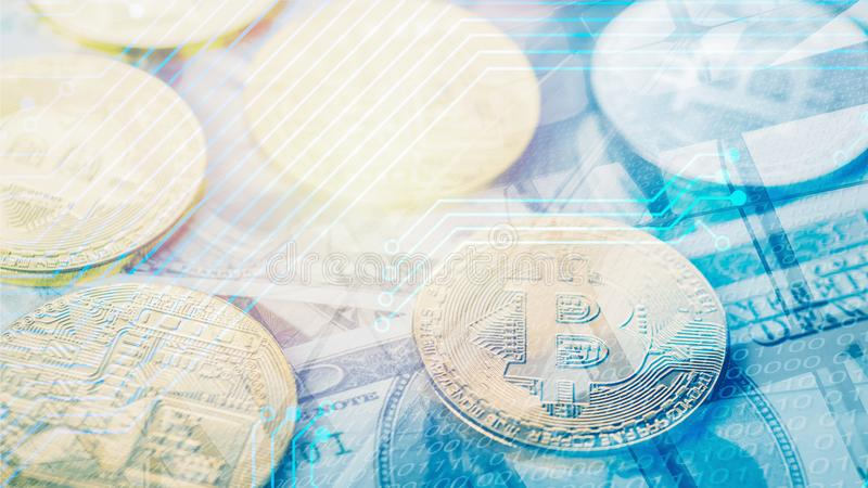 Background of bitcoin golden coin on us banknote background overlay with digital circuit symbol and digital code. Double exposure background of bitcoin golden stock image