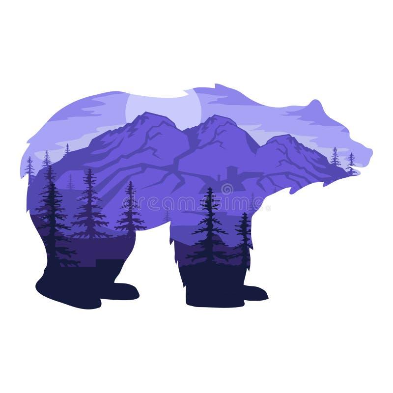 Double exposure bear. Landscape bear in double exposure. Vector artwork royalty free illustration