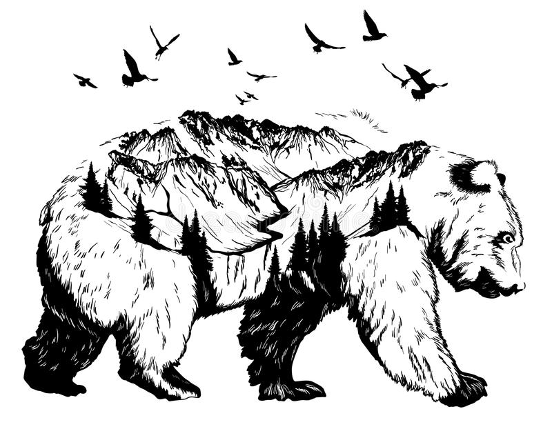 Double exposure, bear and mountain landscape vector illustration