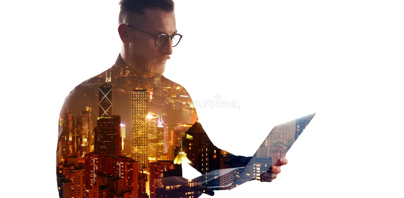 Double exposure bearded businessman wearing black shirt and glasses.Banker holding contemporary notebook hands,using stock images