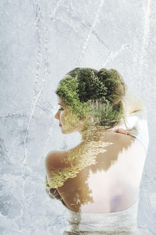 Double exposure of Beautiful girl portrait and landscape stock photos