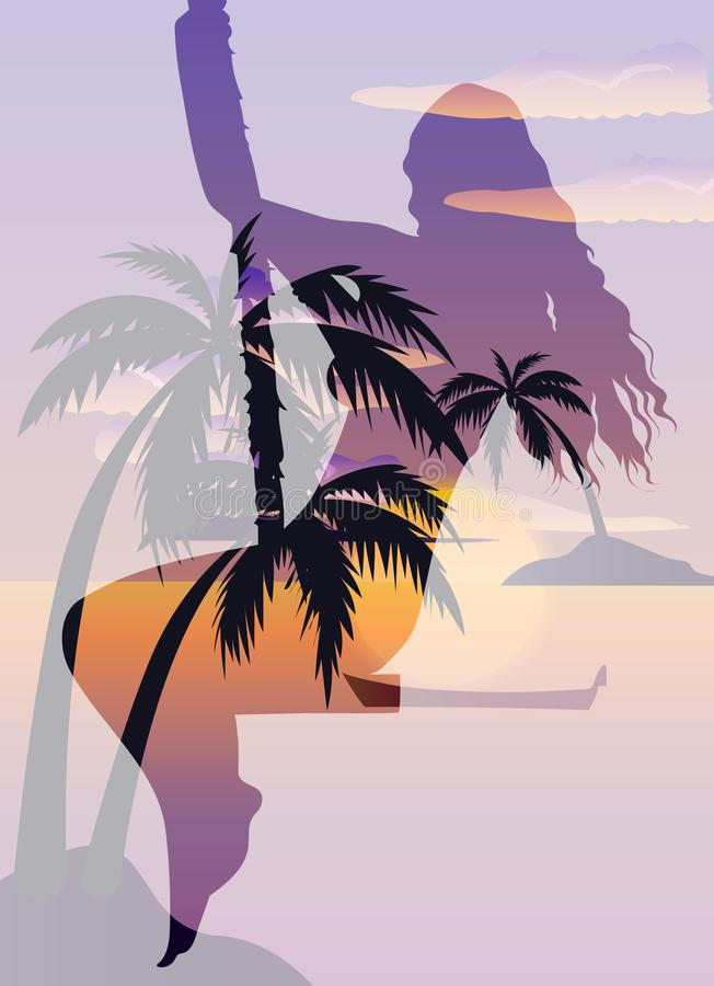 Double exposure beautiful girl and tropical beach with palms, ocean and island stock illustration