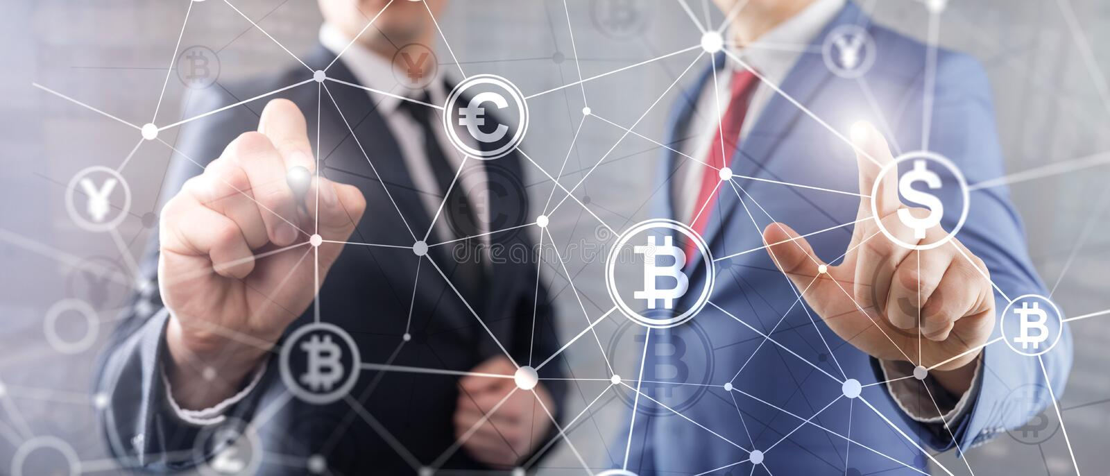 Double exposure Bitcoin and blockchain concept. Digital economy and currency trading. stock photos