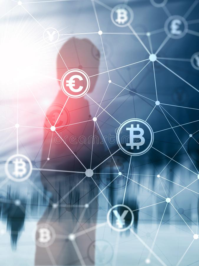 Double exposure Bitcoin and blockchain concept. Digital economy and currency trading. Abstract Cover Design Vertical Format.  royalty free stock photo