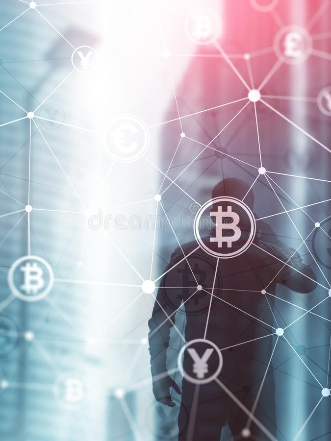 Double exposure Bitcoin and blockchain concept. Digital economy and currency trading. Abstract Cover Design Vertical Format.  royalty free stock images