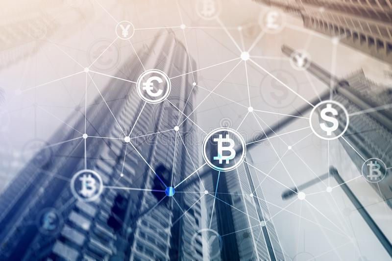 Double exposure Bitcoin and blockchain concept. Digital economy and currency trading royalty free stock photos